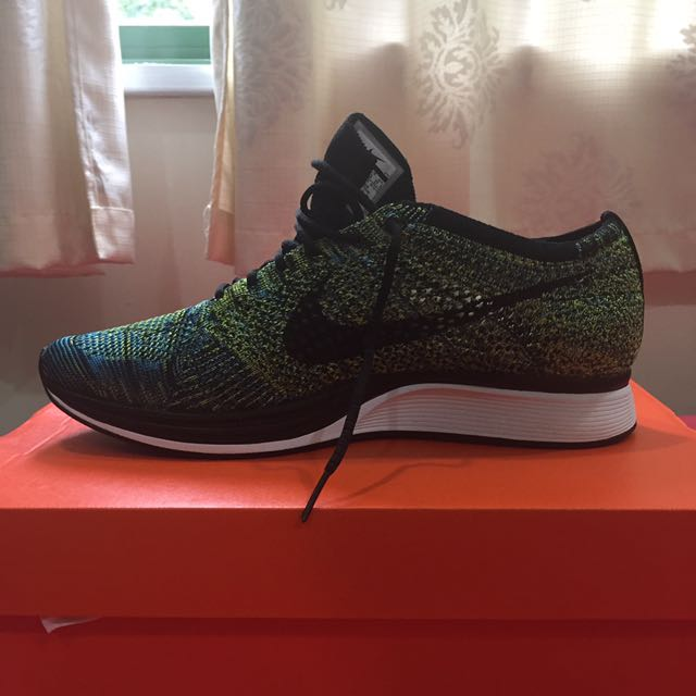 new product 41338 7d418 ... inexpensive nike flyknit racer blue glow black yellow strike mens  fashion footwear on carousell 461a5 d3e8a