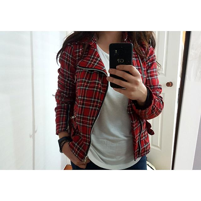 Olga De Polga Plaid Biker Jacket