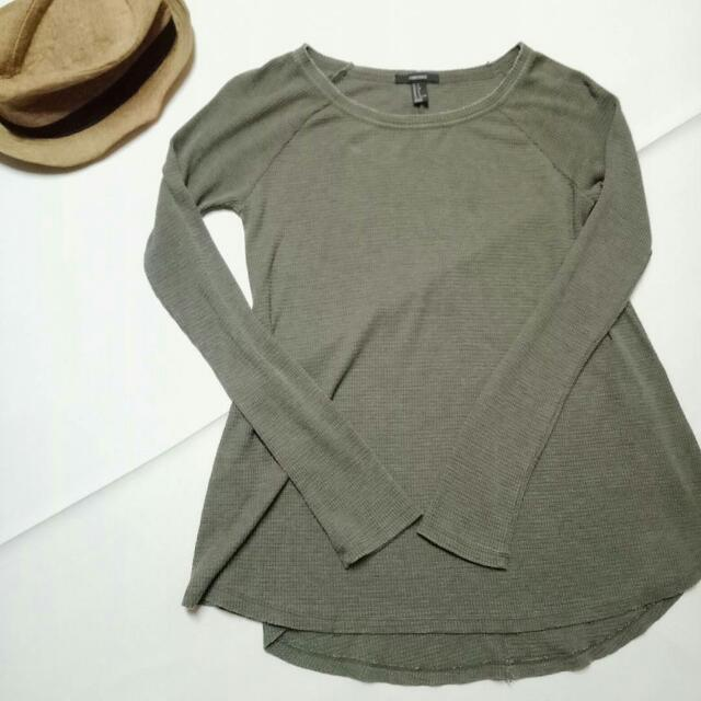 Oversized Army Green Knitted Top