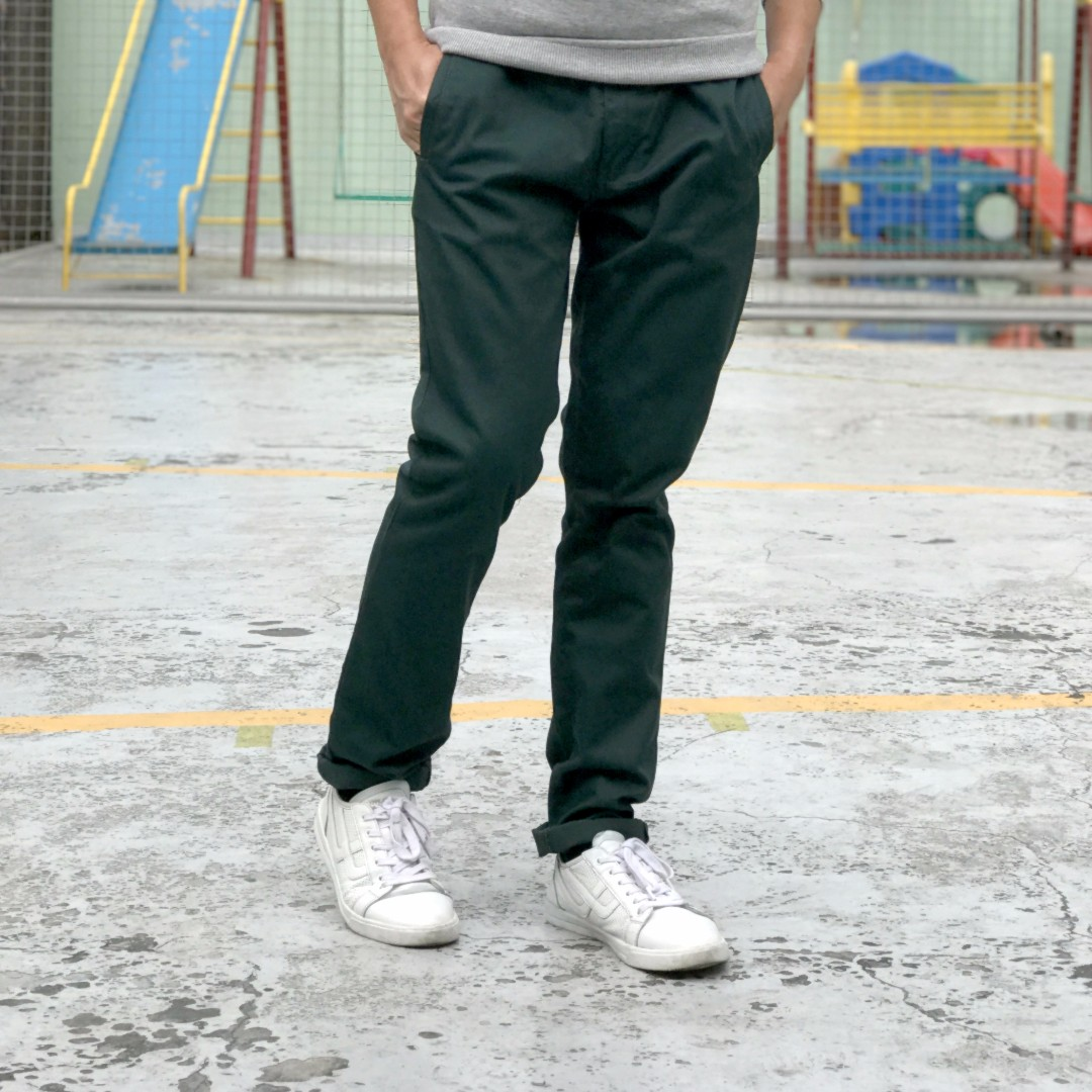 OXYGEN Green SLIM FIT COTTON PANTS for GUYS MEN SIZE 32 Not Penshoppe Bench Zara Forever21 H&M