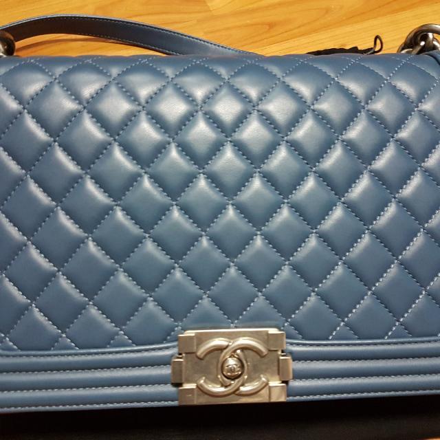 2edb9b6a8e15 Preloved Chanel Boy In Lambskin, Luxury, Bags & Wallets on Carousell