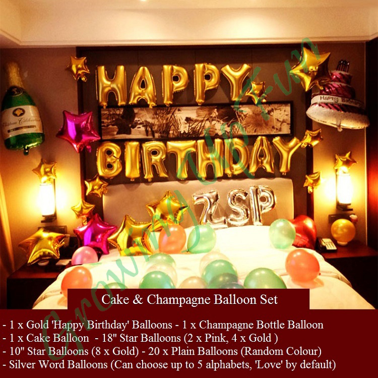 Ready Stock Champagne Cake Happy Birthday Balloon Set Design