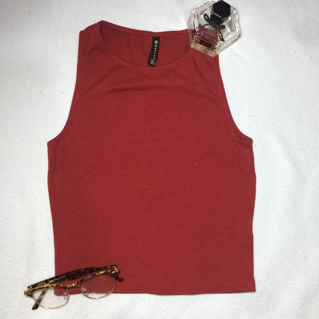 Stradivarius Red Crop Top