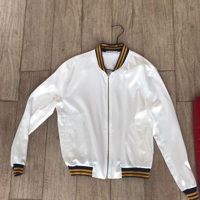 Stradivarius White Blue Yellow Stripes Jersey Jacket