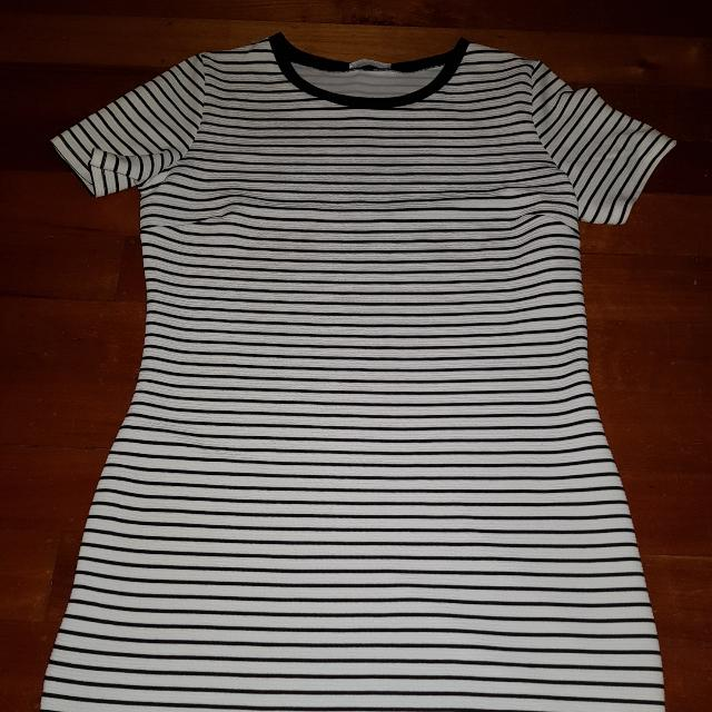 Stripe Dress Above the Knee Length