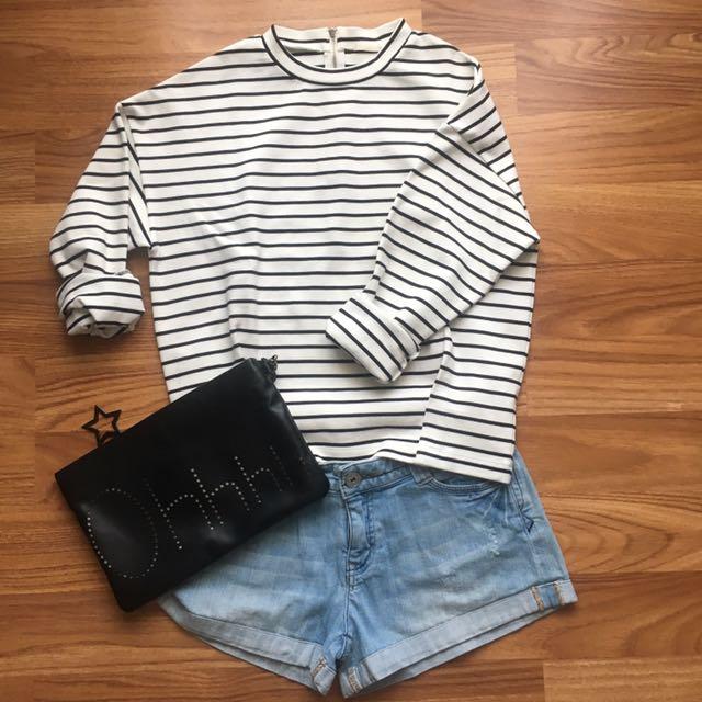 Uniqlo White Stripe Shirt