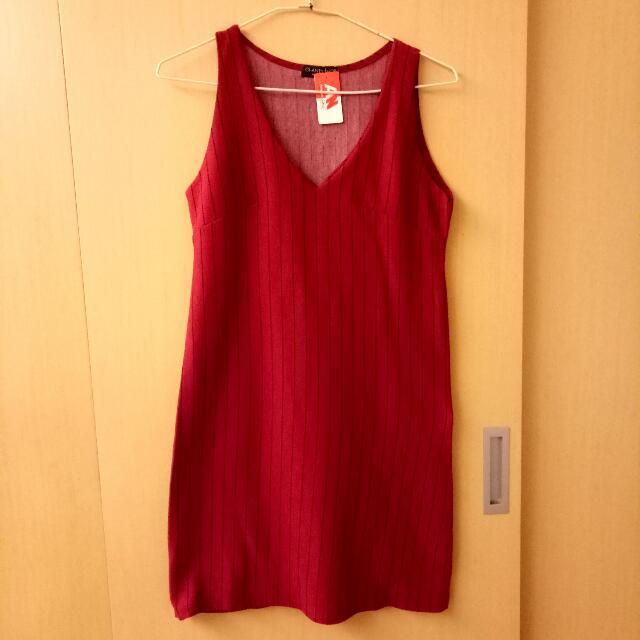 紅黑條紋V領開口背心洋裝