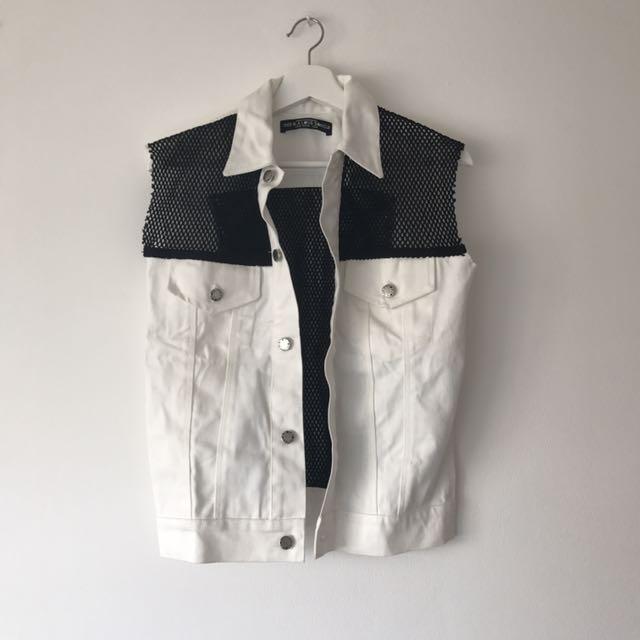 White Jeans Vest