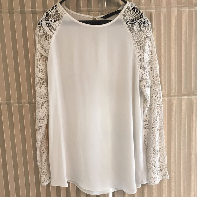 White Lace Brokat Blouse