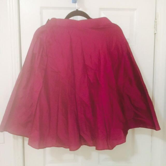 Wine Coloured Midi Skater Skirt