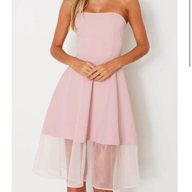 Women's Pink Midi Formal Strapless Dress