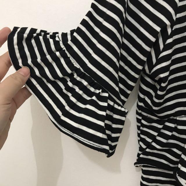 ZADA x Ayla Dimitri - Monochrome Stripes Top