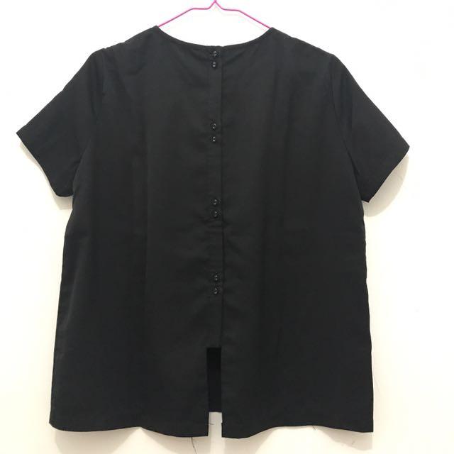 Zalora - Black Back Button Boxy Top