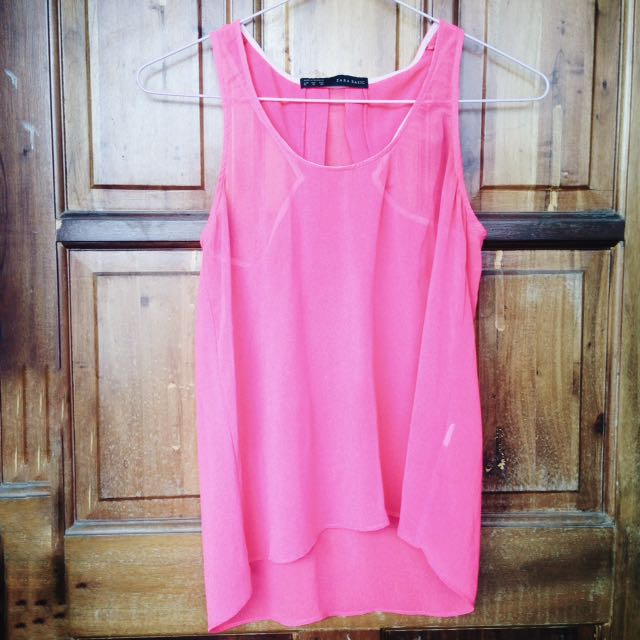 Zara Basic Neon Pink Top