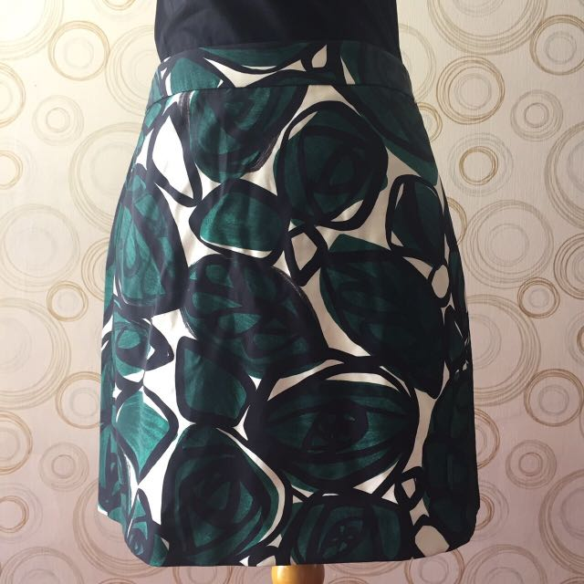 ZARA Green Leaf Skirt