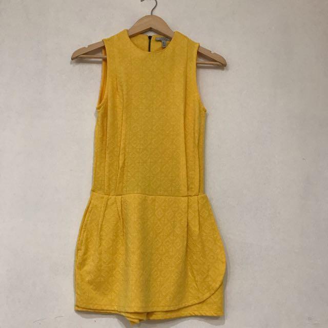 Zara Jumpsuit Yellow Sz S