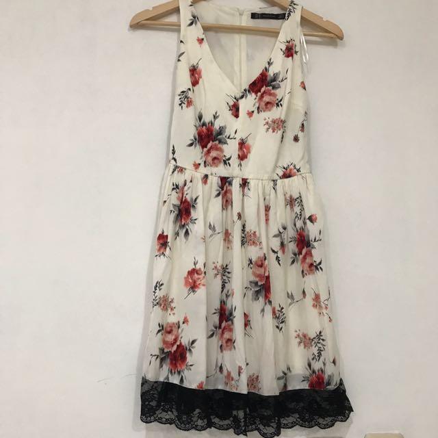 Zara TRF Flower Dress XS