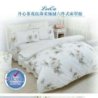 全台市區免運】抗菌六件式寢具組(歐式壓框枕套x2/鋪棉床罩x1/兩用被套x1/抱枕套x1/抱枕心x1)內容:加大