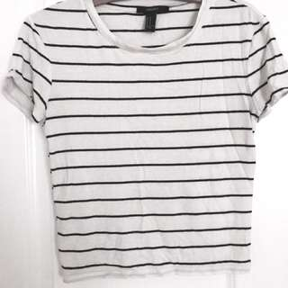 Forever 21 Cropped Black and White T-shirt