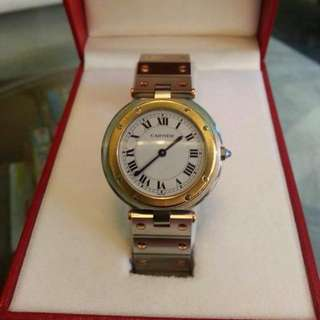 Cartier Vendome Watch. Solid 18K Gold With Sapphire Stone.