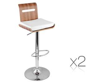 Set of 2 Wooden Bar Stool Kitchen Chair Natural