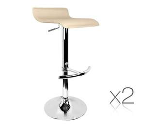Set of 2 PVC Leather Kitchen Bar Stool Beige