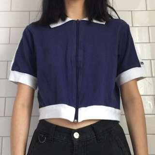vintage navy cropped shirt