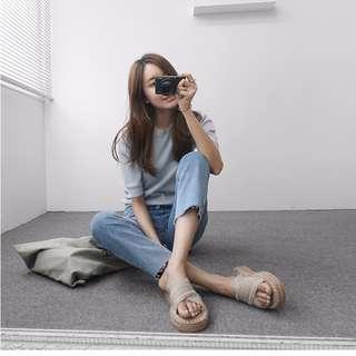 M SELECT 超可愛!!韓國東大門韓版草編鞋拖鞋涼鞋 推薦 米/黑/藍/灰/銀