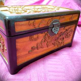 Antique Wood Carved Jewellery Box