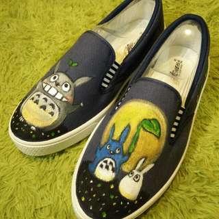 防水顏料龍貓手繪鞋