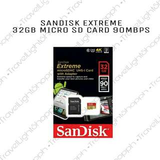 32GB SANDISK EXTREME MEMORY CARD 90MB/S