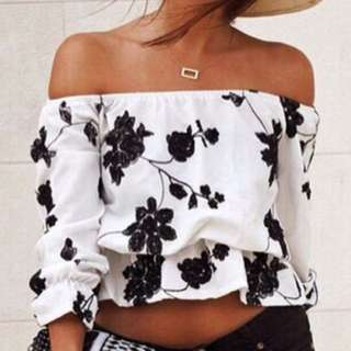 Black&white Floral Off The Shoulder