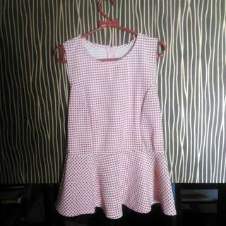 Tank Top Peplum Blouse Red White Tartan Kotak