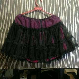 Rok Tutu Mini Skirt Black Pink Hitam
