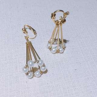 純手工 銅飾 黃銅 飾品 momo's march 夾式耳環 珍珠 垂墜耳環 夾式垂墜耳環