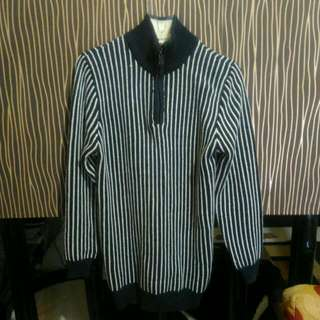 Sweater Stripe Navy White Garis Tebal Rajut