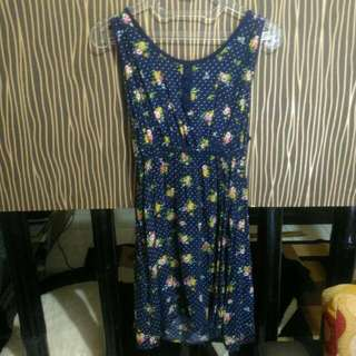 Dress Flower Floral Navy Xxi Blue