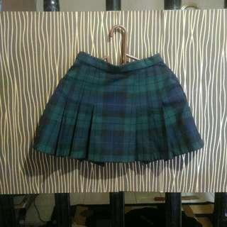 Rok Tartan Mini Skirt Green Kotak Kotak