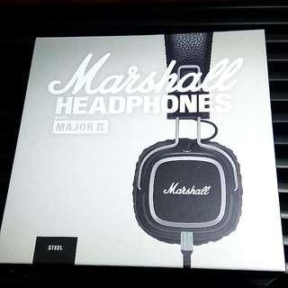 *NEW* Marshall Major ll Headphones Microphone & Remote Steel Black Edition