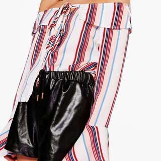 Boohoo Off The Shoulder Striped Blouse