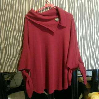 Blouse Outwear Red Maroon Atasan