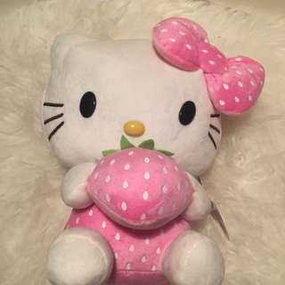 [Brand New] Hello Kitty Plush Toy with Pink Bow + Strawberry