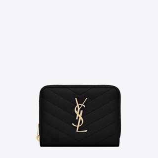 YSL Black Monogram Compact Zip Wallet
