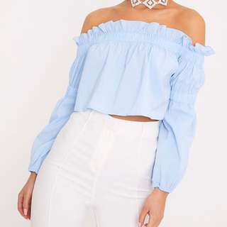 PretttLittleThings Blue Off The Shoulder Top