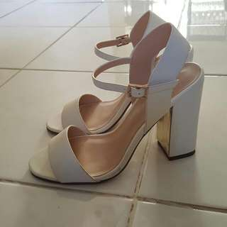 Forevernew White And Gold Block Heels