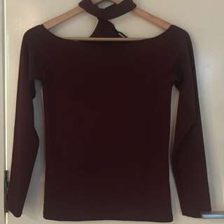 Bikbok Off Shoulder choker Top