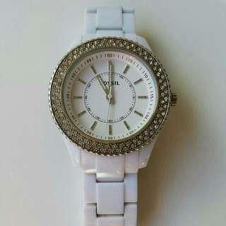 Fossil Women's White Diamante Watch