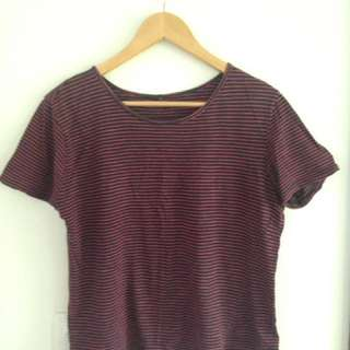 Short Sleeve Stripey Tee Navy & Red