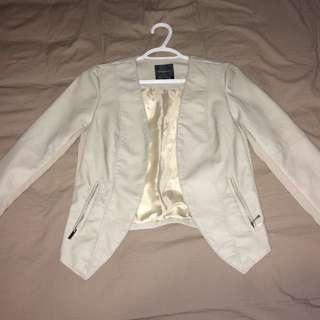 Dynamite White Leather Jacket