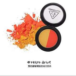「全新」韓國3CE 雙色腮紅#RETEO DRIVE橘色系
